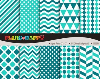 70% OFF Turquoise And Teal Digital Papers, Chevron/Polka Dot/Wave/Stripe Pattern Graphics, Personal & Small Commercial Use, Instant Download