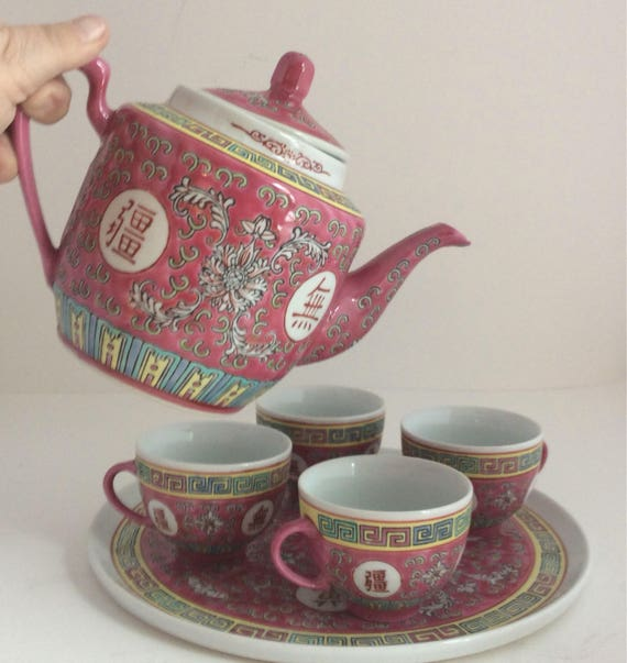 Vintage Chinese Wedding Ceremony Tea Set Style