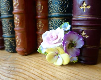 Coalport Fine Bone China Brooch with a Pink Rose, Yellow Pansy and Forget me Nots