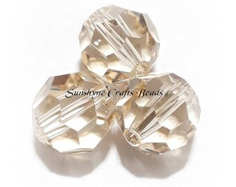 Swarovski Crystal Beads 5000 Series CEYLON TOPAZ Faceted Round Bead - Vintage - Rare Find - Sizes 6mm & 10mm Available