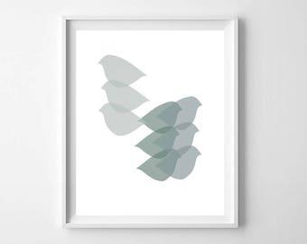 Mid Century Bird Wall Art, Printable Art, Mid Century Printable, Mid Century Modern Art, Scandinavian Decor, Scandi Wall Art, Bird Art Print