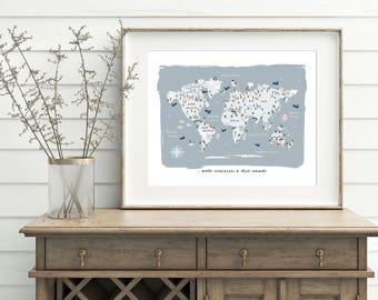 Kids World Map Print, Printable Art, Continents of the World Map, Nursery Map Art Print, Animals of the World Map, Animal Wall Art