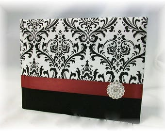 Black and White Madison Damask Wedding Guest Book, Red, Apple Green, many other color choices