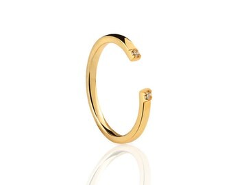 Open bar ring - Two CZ open Ring - Double CZ Ring - Open CZ Ring -  Adjustable Ring - Gold Plated Ring - Minimalist Jewelry