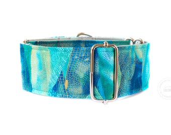 "Dragonfly, wings, blue, tourquise, gold, dog collar, wide sighthound collar, 2"" martingale, 1.4"" martingale, 1"" martingale"