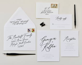 Hand Calligraphy Wedding Invitation | Modern Calligraphy Wedding Invite, Modern Wedding Invitation, Whimsical Calligraphy, Clean Calligraphy
