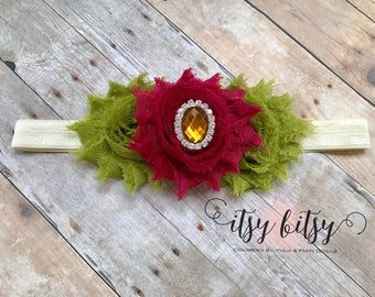Olive Green and Wine Headband, Fall Headband, Autumn Headband, Shabby Flower Headband, Earthy Headband