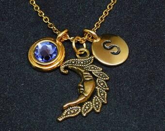 Golden Moon necklace, swarovski birthstone, initial necklace, birthstone necklace, initial charm