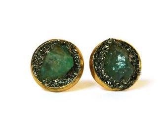 Emerald Earrings, Emerald Stud Earrings, Emerald Jewelry, May Birthstone Jewelry, Emerald Birthstone Earrings, May Birthday Gift