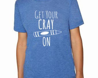 Get Your Crayon Kids T-Shirt, Tri-blend, Comfortable. Funny Gift. Shirts with Sayings. Royal Blue