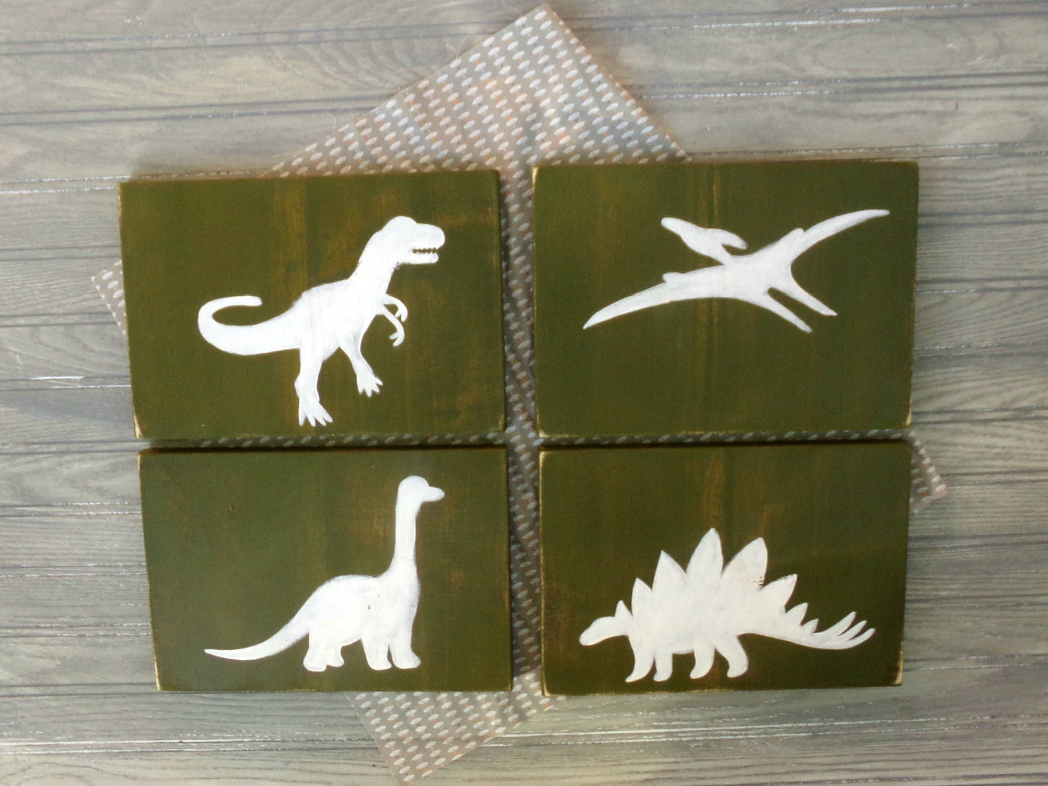 Dinosaur Rustic Wood Decor Set Rustic Nursery Decor Kids