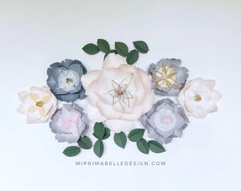 Gray paper flowers wall decor, baby girl nursery room decor, girl bedroom wall decor, first birthday party / photoshoot props, wedding backd