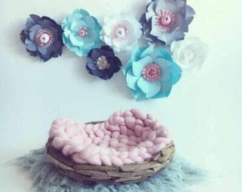 Large paper flowers light blue room wall decor baby girl nursery bedroom white decor gray flower wall girl kid bedroom giant floral wall