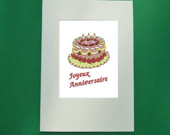embroidered card with cake