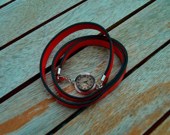 red leather with chunk Bracelet Watch that works