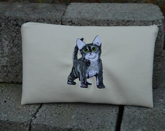 faux leather cat clutch
