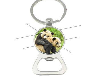 bottle opener key ring cabochon panda