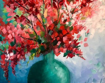 """Original Oil Painting Colorful Floral Red Flowers Vase 8""""X10"""""""
