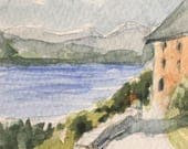 Landscape ORIGINAL Miniature Watercolour 'View from the Lake House' ACEO, For him, For her, Home Decor, Wall Art, Gift Idea, Free Shipping