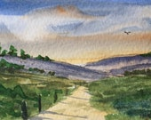 Landscape ORIGINAL Miniature Watercolour Pathway in the Sunset ACEO For him, For her, Home Decor, Wall Art, Gift Idea, Free Shipping