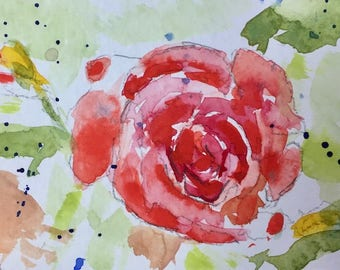 Floral ORIGINAL Miniature Watercolour  'Summer Rose'  ACEO Flowers Rose Roses For him For Her Home Decor Wall Art Gift Idea, Free Shipping