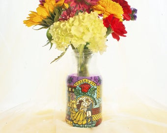 Beauty and the Beast Stained Glass Vase