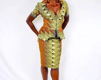 Schona Tribal Print African Wax Suit, Ladies' Suit. African Dress, Pencil skirt suit - Made to Order