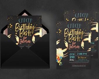 Zodiac Invitation Cancer   Astrology Invite, Birthday Invitations, Immediate Download, Cancer Constellation, Zodiac 2018, Constellation Art