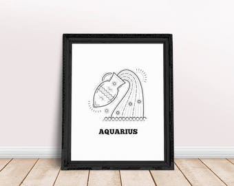 Aquarius | Aquarius Printable, Aquarius Wall Art, Aquarius Poster, Aquarius Zodiac Art, Aquarius Sign Art, Zodiac Sign Wall Art