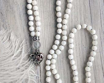 White shell necklace with heart locket / Heart necklace / Long beaded necklace / White necklace