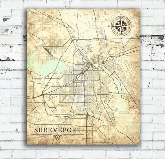 SHREVEPORT LA Canvas Print Louisiana LA City Vintage map Town