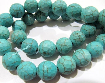 SALE- Turquoise Magnasite Ball Shape Beads / Round faceted Beads 11-12mm / Sold Per Strand 15 inches Long / Howlite Turquoise Gemstone Beads