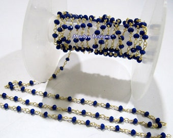 Beautiful Hydro Quartz Lapis Rondelle Faceted Beaded Chain , 3-4mm Rosary Chain , Wire Wrapped Beaded Chain, Sold per 3 Foot- Wholesale Rate