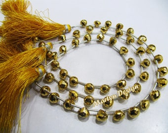 Beautiful Golden Pyrite Onion Shape Faceted Beads, Natural Pyrite Gemstone 8 inch long Strands 24 Kt Gold Plated, Semi Precious Gemstones
