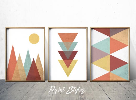 Geometric art prints geometric wall art geometric art nordic Painting geometric patterns on walls