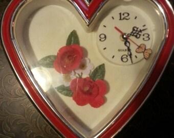 Vintage heart shaped plastic Quartz wall clock