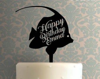 Custom Fish Happy Birthday Cake Topper 100