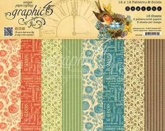 Graphic 45-Seasons 12x12 Patterns & Solids Paper Pad