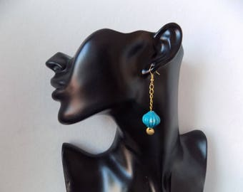 Earring pendant necklace large Pearl turquoise