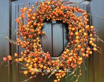 Fall wreath~farmhouse wreath~halloween wreath~front door wreath~clemson wreath~gator wreath~auburn wreath~orange berry wreath~