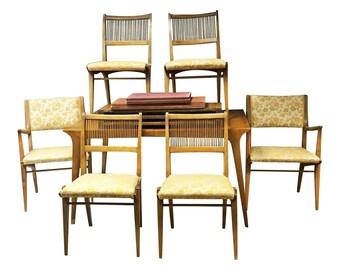 DREXEL PROFILE Dining Table & 6 Chairs mid century modern set vintage John O Van Koert wood gold upholstered blonde 50s 60s furniture
