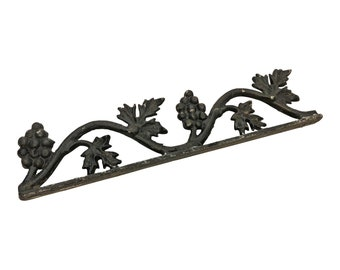 Vintage METAL FINIAL TOPPER black trim fence ornate trim architectural salvage black rustic shabby french chic cottage grape cable leaf