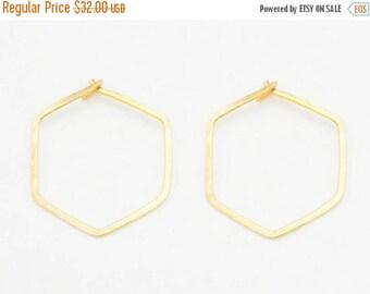 SALE - Hexagon Hoop Earrings - Gold Hoop Earrings - Hexagon Earrings - Hoop Earrings - Hexagon Hoops