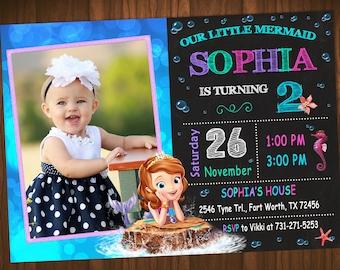 Sofía Mermaid invitación fiesta de cumpleaños de Sofia Mermaid, Sofía invitación, invitación de sirena, Sofía la primera invitación del cumpleaños