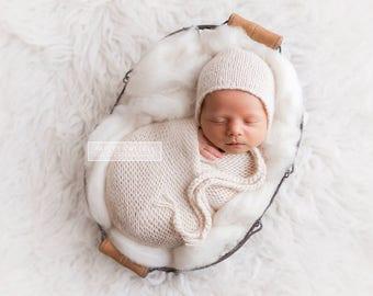 New Born Bonnet and wrap set, 3 - 6 months Bonnet and Wrap set, Matching Bonnet and Wrap set