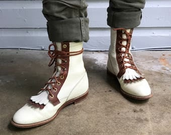 Vintage 1990s Justin Ropers White & Brown Two Tone Boots size 8
