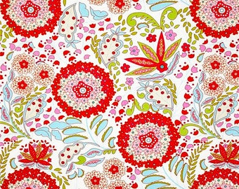 Little Azalea Lantana in Red by Dena Designs -  cotton quilting fabric by the yard