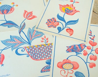 Vintage embroidery pattern crewel Swedish.Pattern embroidery.Traditional folk art.Collage pages.Wall art.Swedish color sewing.Sweden art