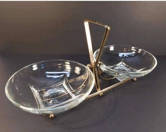 20% OFF SALE - Mid Century Brass and Glass Tidbit Serving Tray, Condiment Serving, Holiday Serving