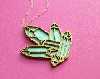 Laser Cut Pastel Green Quartz Cluster Necklace / Wooden Hand Painted Mint Geometric Crystal Pendant / 14K Rose Gold Filled Chain